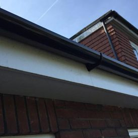 A new gutter that has been installed by our team