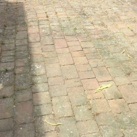 A dirty block paving area